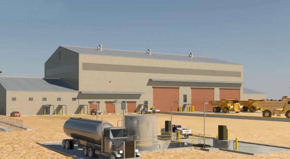 Maintenance Shop Office, Fuel Island, Truck Yard